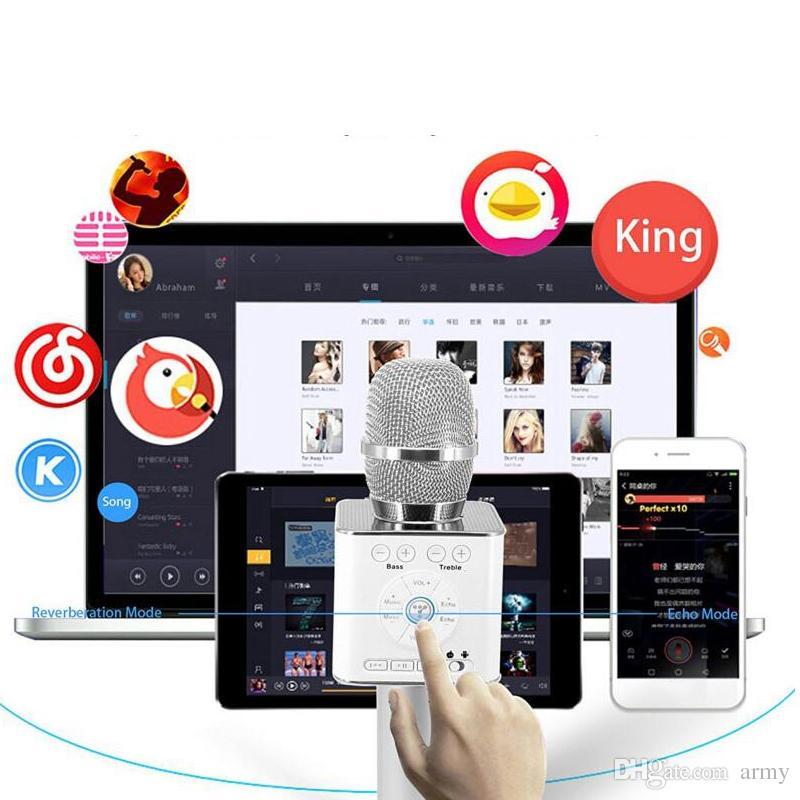 Magic Q9 Bluetooth Wireless Microphone Handheld Microfono KTV With Speaker Mic Loudspeaker Karaoke Q7 Upgrade For android phone