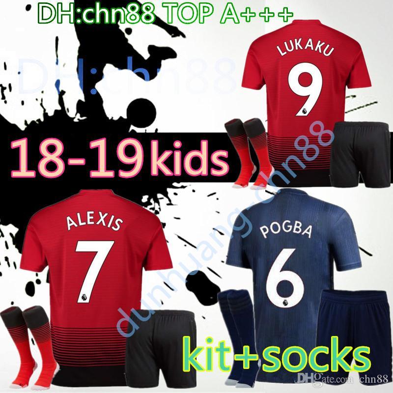 216ae966caa FC Manchester United Jersey 2018 2019 Kids Soccer 6 POGBA 9 LUKAKU ...