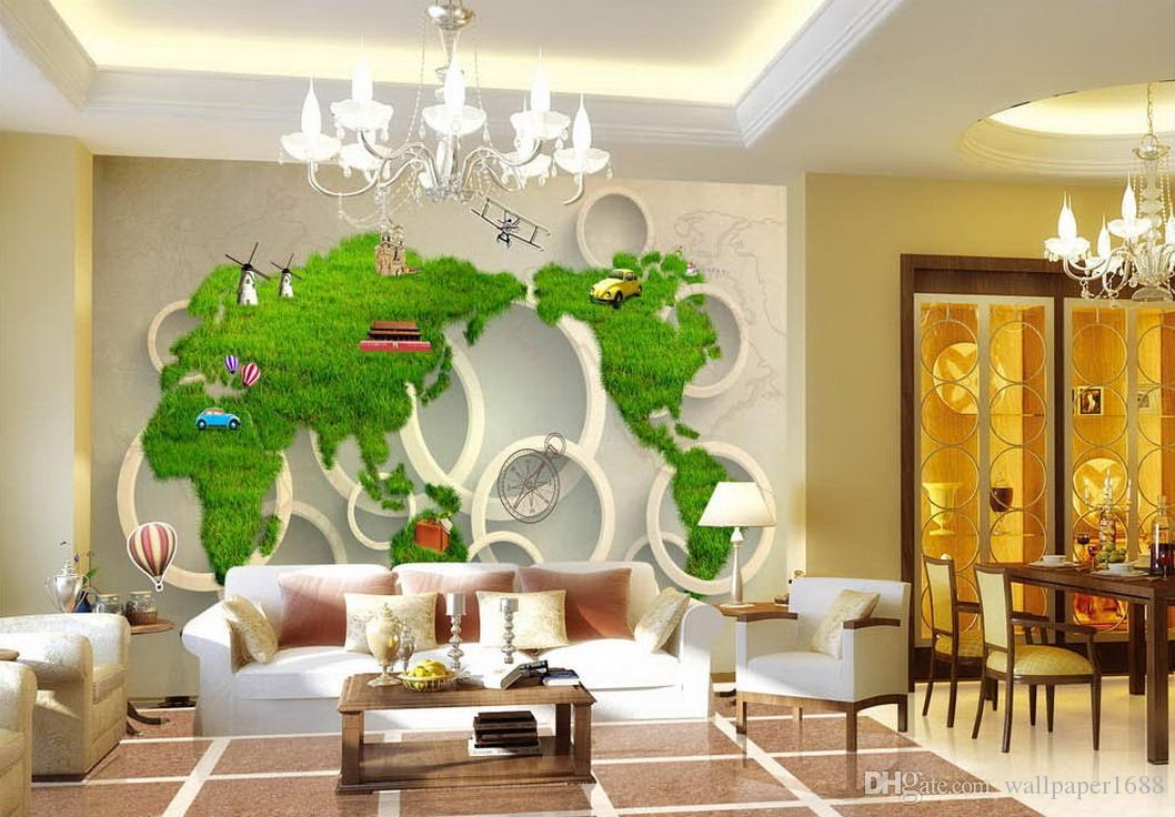 Factory Direct Sale 3d Mural World Map Tv Background Wall Mural 3d
