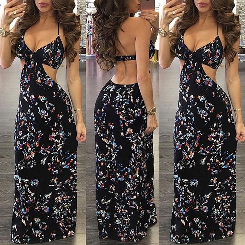 9ebcf0109d7 2019 2018 Sexy Boho Maxi Sundress Women Summer Strap Party Dress Floral  Backless Slim Fit Ladies Beach Long Dress From Darnelly