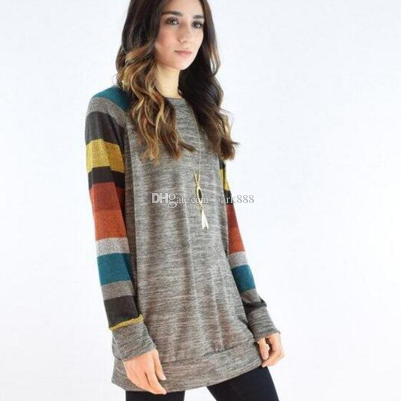 2019 Women Long Sleeve Splice Knit Under Sweater T Shirt Undershirt
