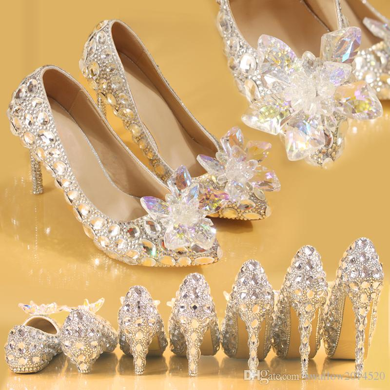 4d63f13049 Top Grade Cinderella Crystal Shoes Bridal Rhinestone Wedding Shoes With  Clear Flower Leather Big Small Size 34 To 41