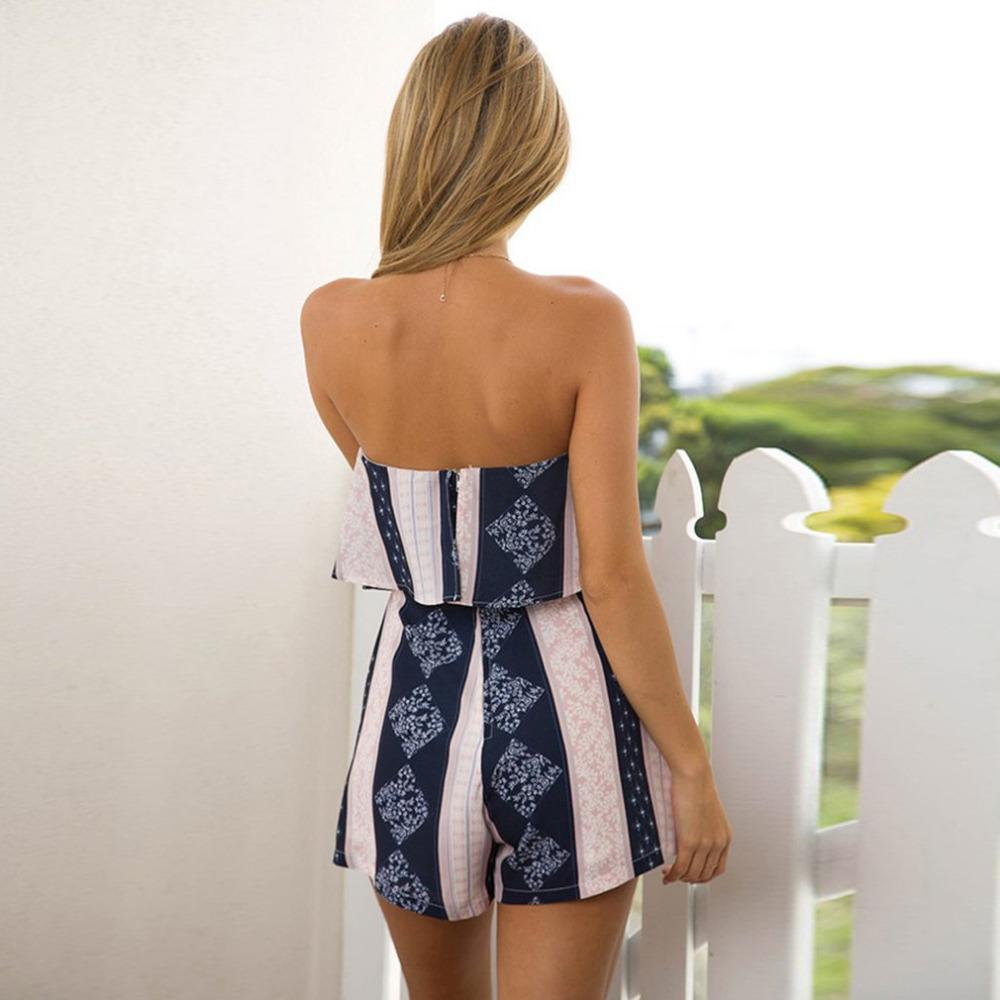 Women Sexy Off Shoulder Floral Printed Elegant Jumpsuit Romper White Strapless Overalls Sexy Summer Beach Playsuit Women Outfit