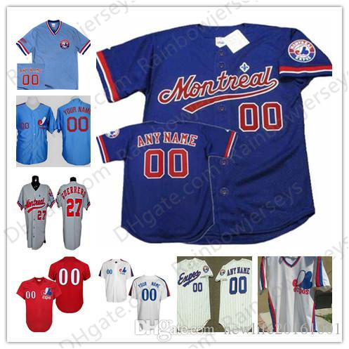 6872cd9883a 2019 Custom Montreal Expos Baseball Jerseys #12 Tom Brady 27 Guerrero 34  Harper 45 Martin 8 Carter White Red Pullover Blue Mesh BP Gray Vintage From  ...