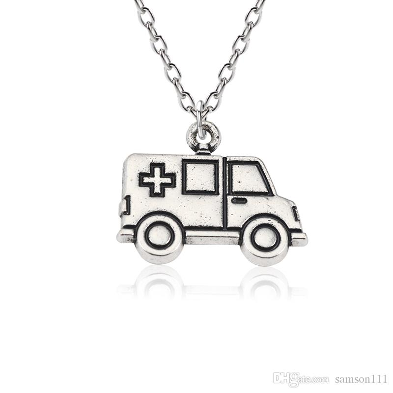 DIY Punk Medical Pendants Cross Ambulance Car Necklaces&Pendants Unisex Silver Choker Jewelry For Doctor Nurse Gift wholesale