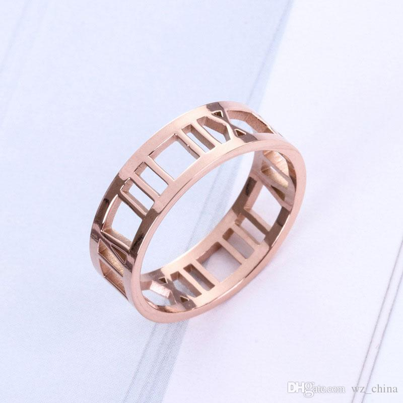 Wedding Couple Rings New Titanium Steel Ring For Women Men Hollow Out Roman Number Finger Jewelry 18KGP 5.5MM New Hot