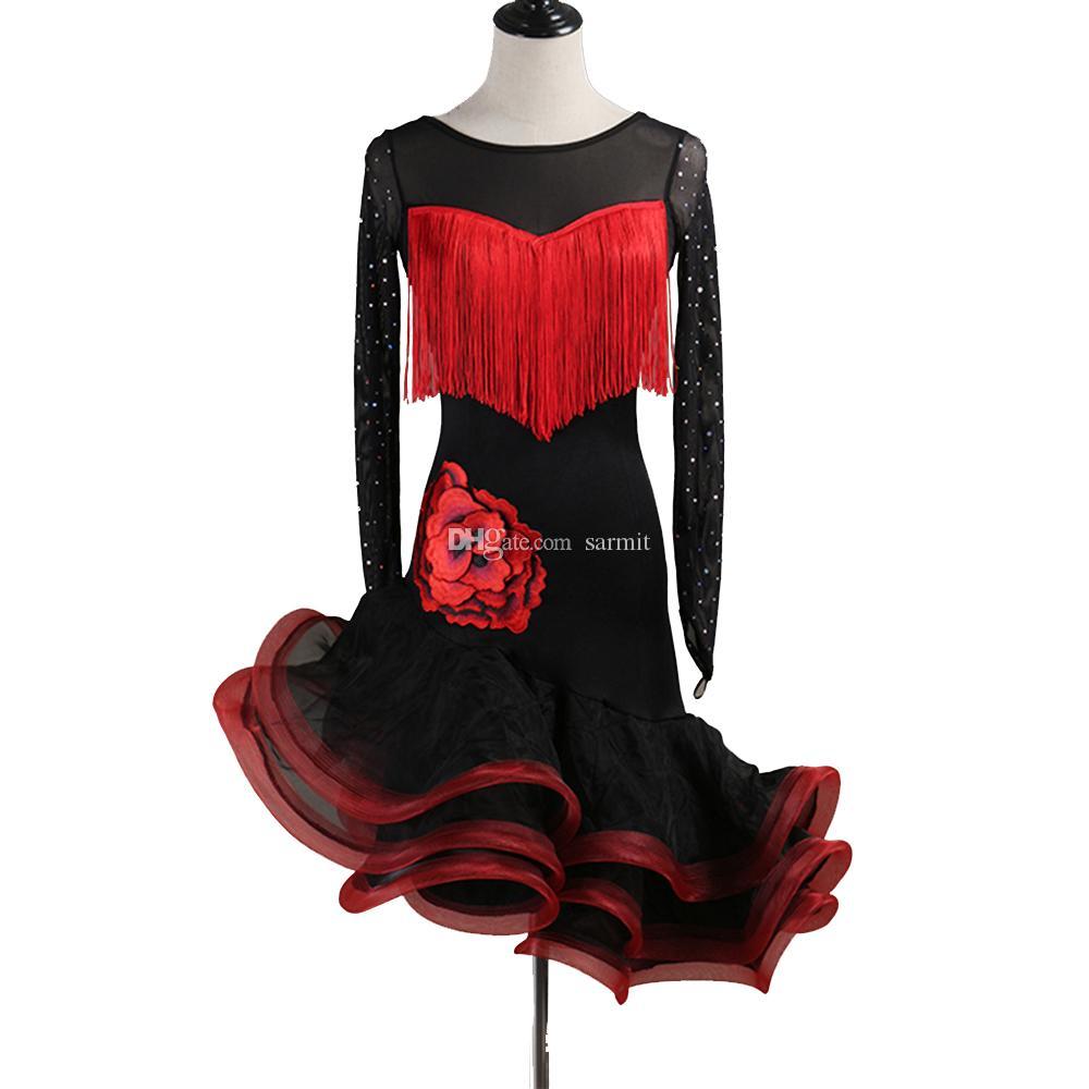 11acb44ec 2019 Latin Samba Dance Dress Sale Women Girls Flapper Salsa Dance  Competition Dresses D0526 Fluffy Sheer Hem Rhinestones Applique Long Sleeve  From Sarmit, ...