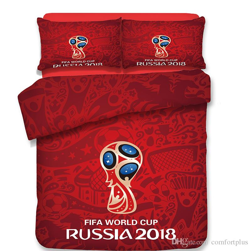Sport Style World Cup Football Pattern Bedding Set Duvet Cover Set Of Quilt Cover & Pillowcase Twin Full Queen King Size