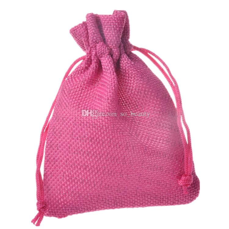 10*15cm Colors Linen Drawstring Bags Wedding Favor Craft DIY Christmas Party Gift Bag 3.9*5.9 inch