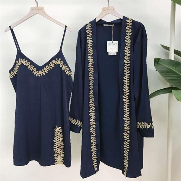 5d1653e2d25 2019 New Spring Summer Women S Sexy Satin Silk Embroidery Pajamas Long  Sleeve Cardigan Bathrobe + Dress Two Piece Home Suit Sleepwear From  Caicloth