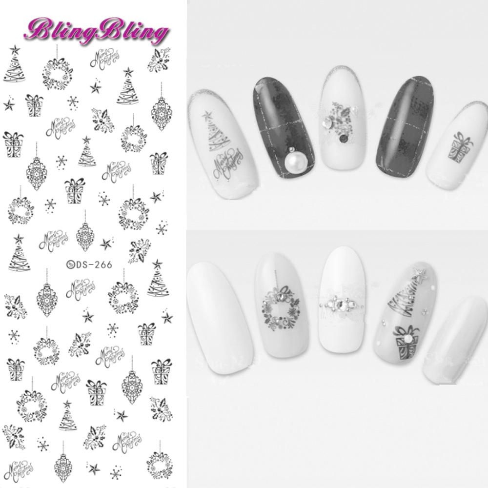 Blingbling Christmas Nail Art Theme Water Decals Xmas Nail Sticker Santa  Snow Design Beauty Wraps Decoration New Year Wall Stickers For Kids 3d Nail  Art ... ab1bc76bba73