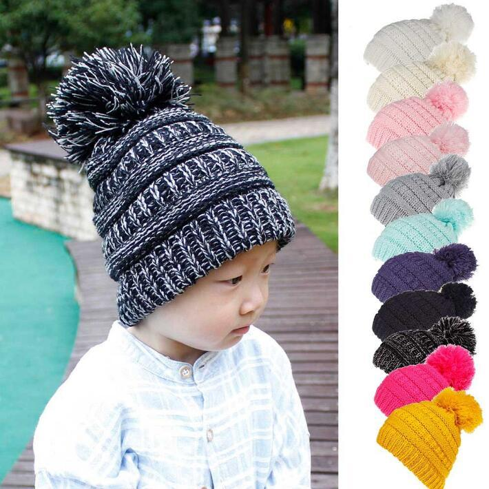 Pom Winter Hat Kids Ball Pom Pom Hats Newborn Knitted Cap Crochet