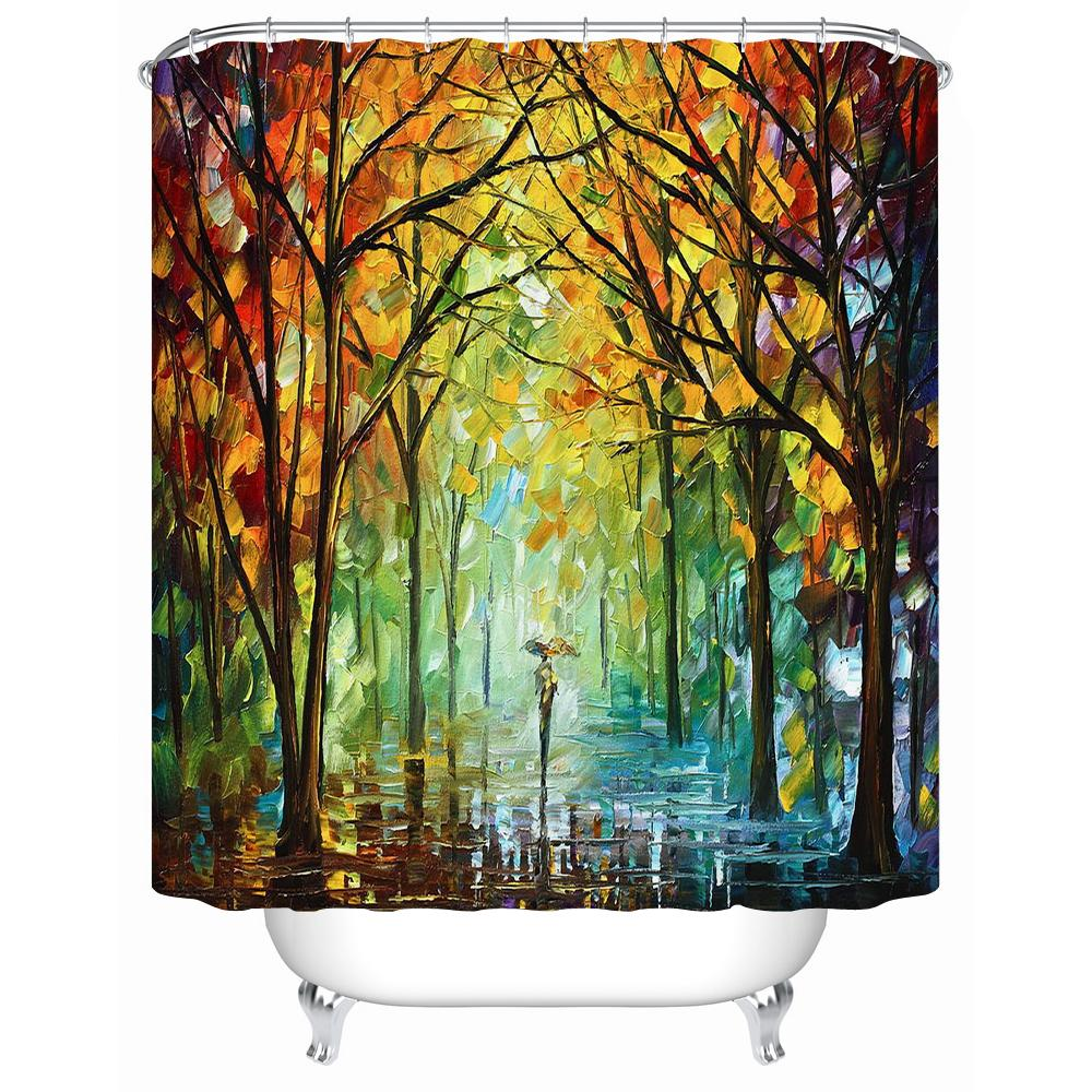 European Style Painting Tree Bathroom Accessories Waterproof Shower Curtains Acceptable Personalized Custom Y 162 Curtain