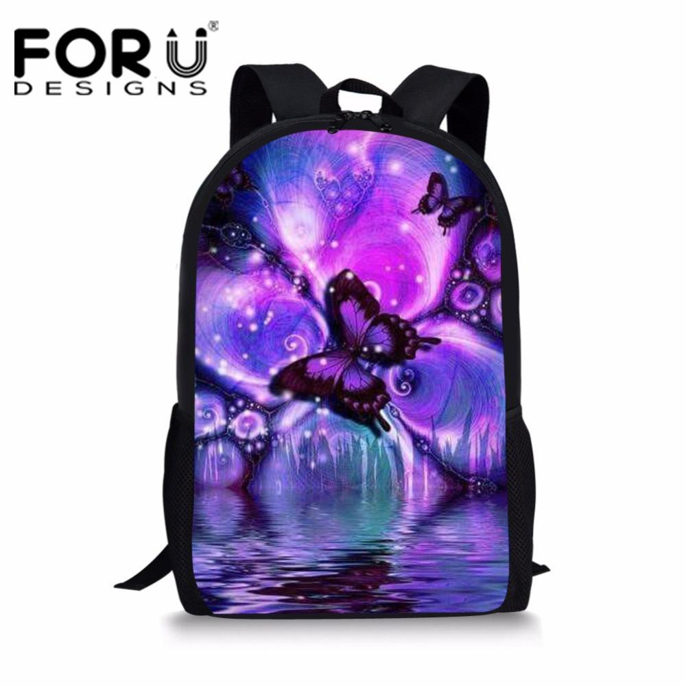 17d29161747 FORUDESIGNS Butterfly Printing School Bag For Teenager Girls Primary  Students Schoolbag Children Book S Casual School Bag Womens Bags Lunch Bags  For Kids ...