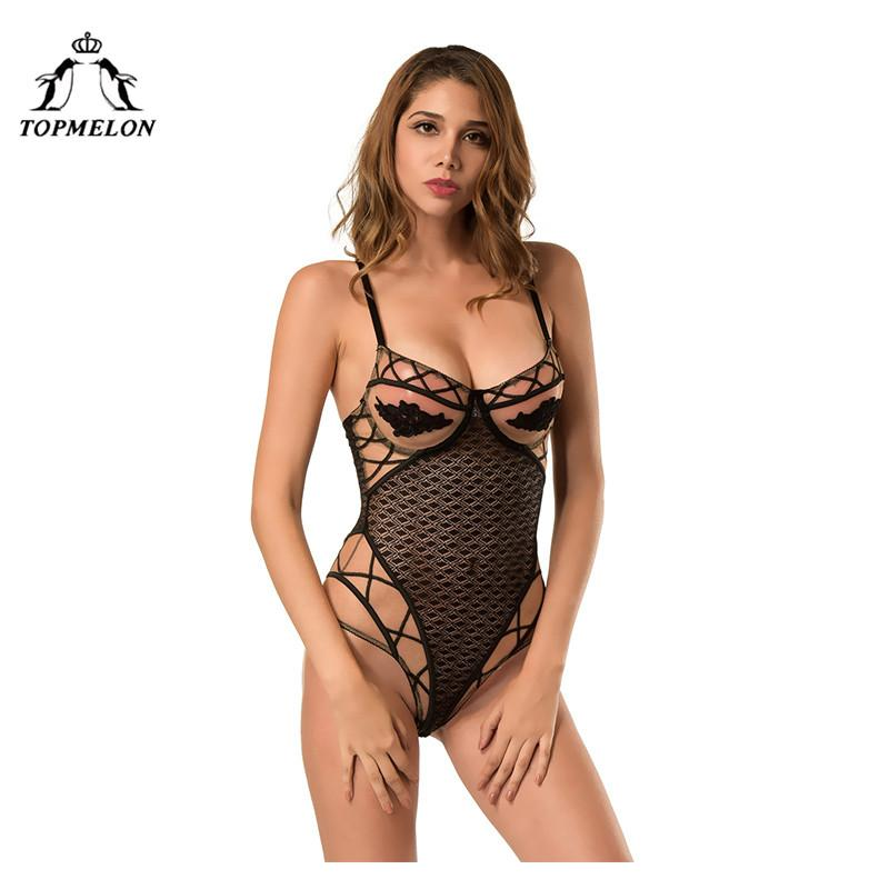 800950709ead 2019 TOPMELON Sexy Bodysuit Underwear Women Shapewear Slimming Lace Mesh  Transparent Floral Lingerie Push Up Hollow Out Cosplay Suit From Honhui