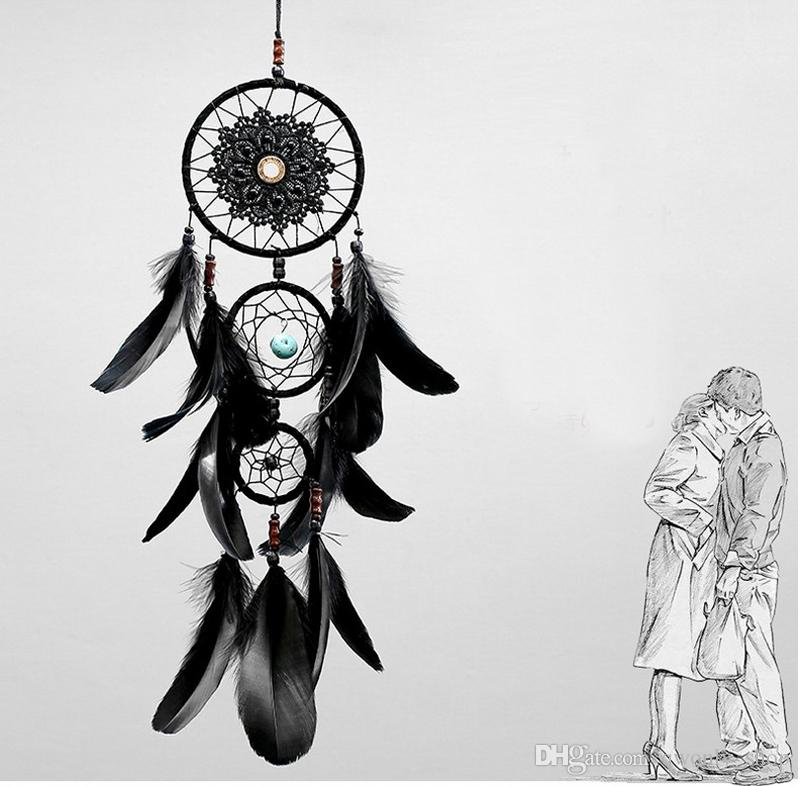 Dreamcatcher Tüyler Ile El Yapımı Dream Catcher Net Net Siyah Rüzgar Çanları Duvar Asılı Araba Kolye Süsleme Parti Hediye Ev Dekorasyon