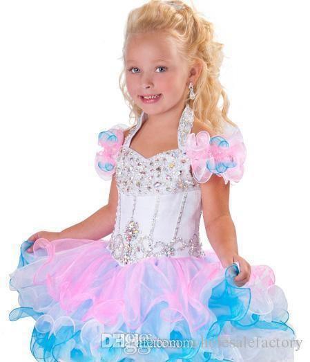 Adorável Bola Halter Vestido de Bola Mini Glitz Vestidos Backless Cristal Beads Tubulação Organza Cupcake Rosa Branco Flor Menina Vestido BO6002
