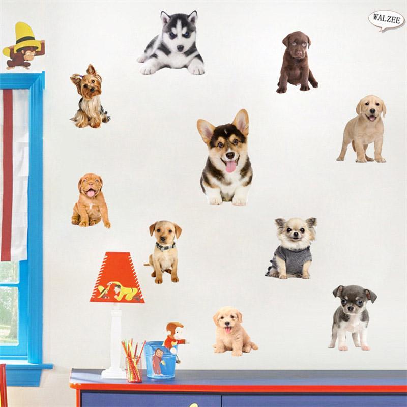 3D Kedi Köpek Evcil Duvar Sticker DIY sevimli Için Çocuk Bebek Kız Yatak Odası Banyo Tuvalet Oturma Odası Ev Dekor Çıkartması Arkaplan Çıkartmalar