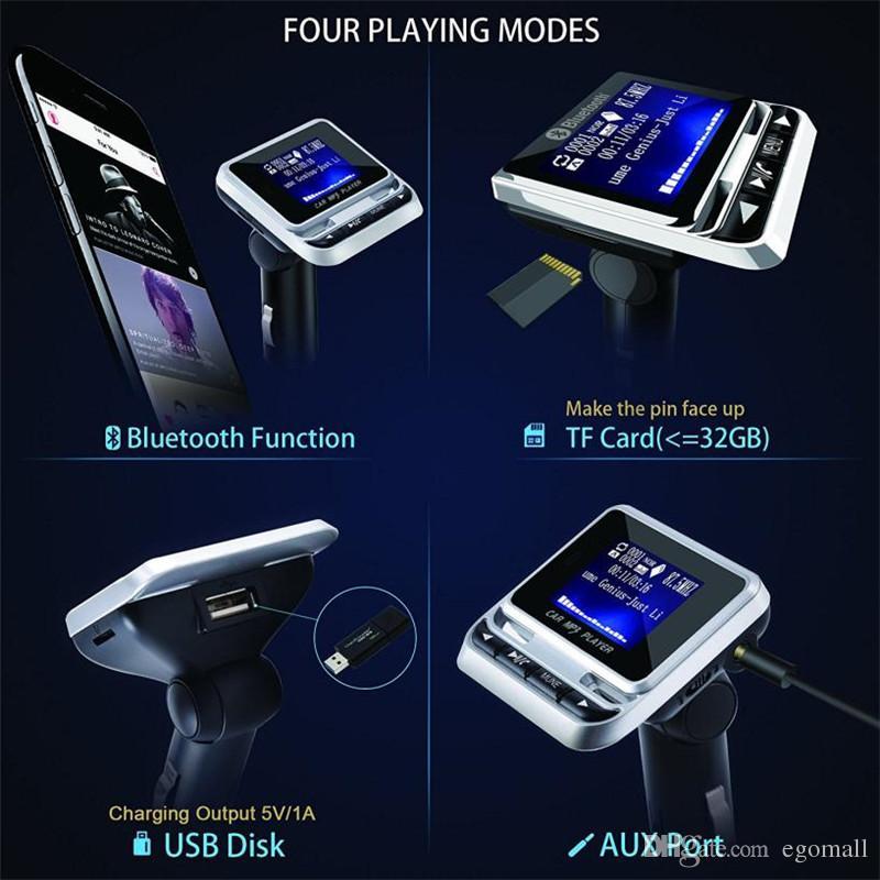 Kit Mãos Livres Bluetooth Car Kit MP3 Player Transmissor FM Sem Fio Carregador USB Controle Remoto LCD Com Caixa de Varejo 2.0