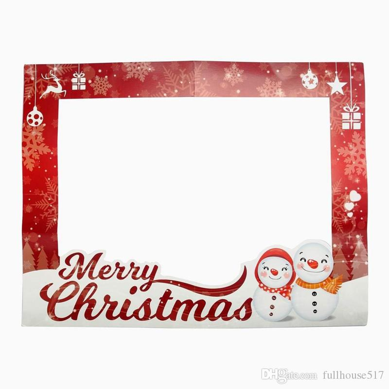 2018 Diy Photo Frame Christmas Paper Photo Booth Props Merry ...