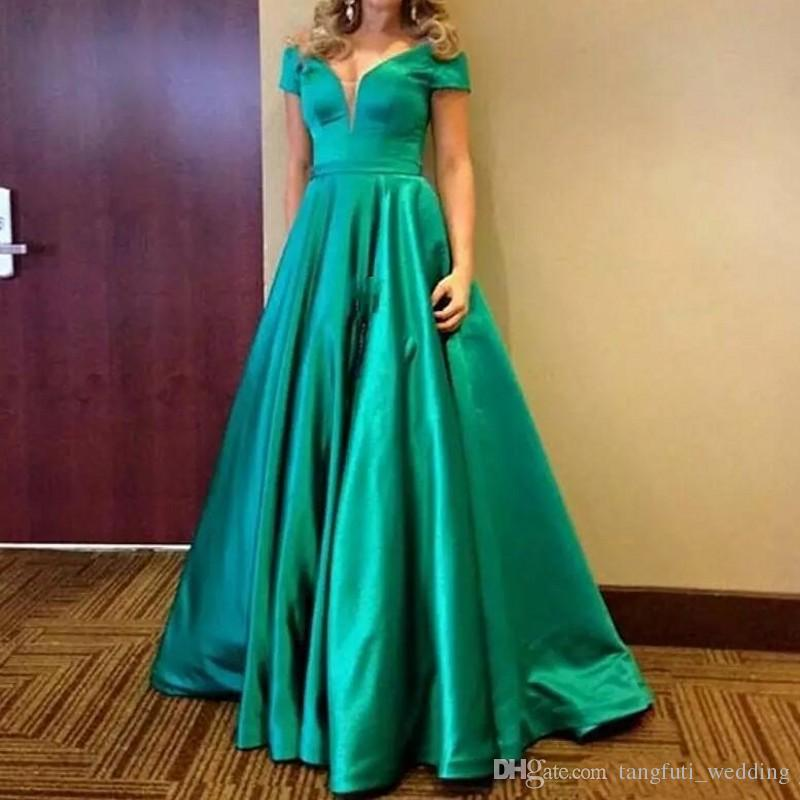5b0a3dd43b4 Green Mother of the Bride Dresses Sexy V-Neck Off Shoulder Short Sleeve  Formal Gowns Women Party Dress Satin Mother s Dresses