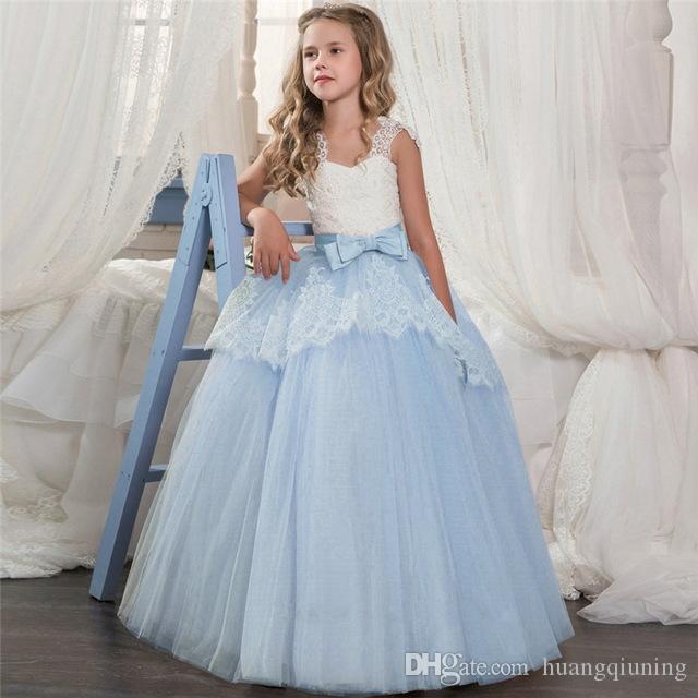 on sale b43a3 1ded7 Festa di nozze della ragazza adolescente vestito elegante abiti senza  maniche in pizzo per i bambini 6 10 14 anni costume di partito delle  ragazze del ...