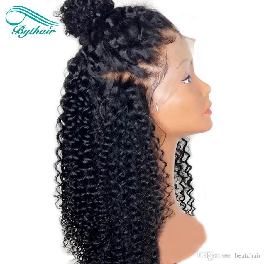 Parrucche capelli umani anteriori in pizzo Bythair donne nere Parrucca anteriore in pizzo riccio Parrucca piena in pizzo con capelli vergini Nodi sbiancati