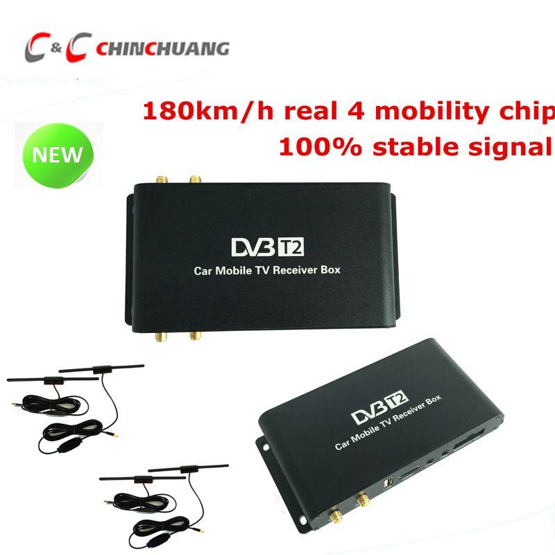 New ! 180-200km/h Car Mobile DVB-T2 4 Antennas 4 Mobility Chips DVB T2 Car  Digital Car TV Tuner HD 1080P Receiver Box