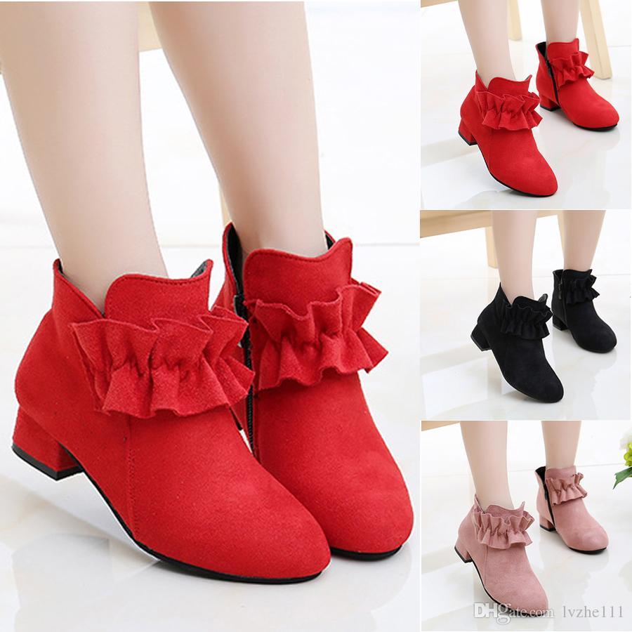 Moda Para Princess Y Bajos Zipper Nueva 27 Niños Party Zapatos Botines Ruffle 36 NiñosNiñas Tamaño Tacones Jul1TF3Kc