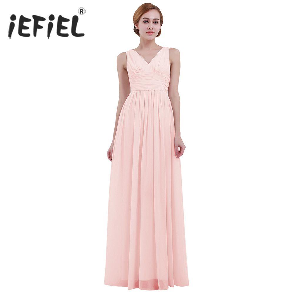 91f9a0cf2e9b8 omen's Clothing Dresses iEFiEL Formal Dress for Women's Sleeveless Deep  V-Neck Vestidos Wedding Birthday Party Long Dress Evening Prom Go...