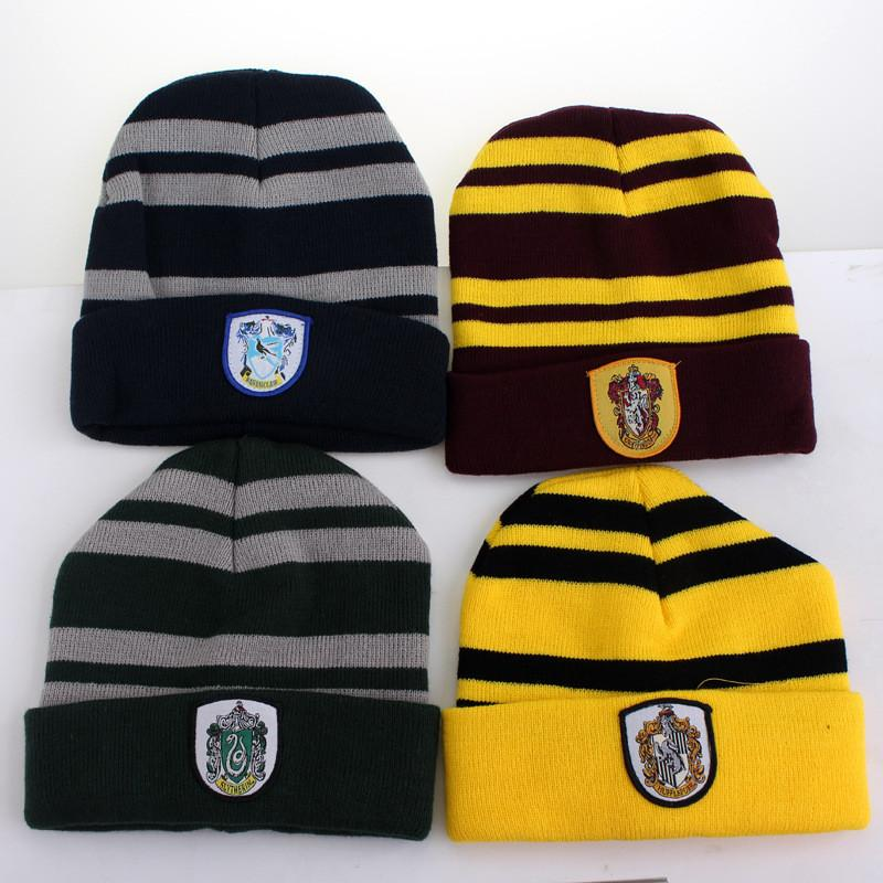 b24cff2ff5cc6 2019 Adult Boys Hot Harry Potter College Beanies Winter Knit Hat Ravenclaw  Gryffindor Slytherin Hufflepuff Skull Caps Cosplay Hats Striped Beanie From  ...