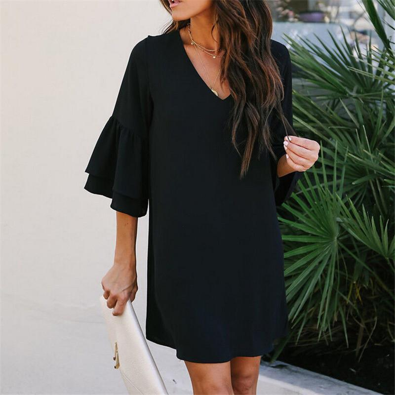 New Women Summer Boho Casual Dresses 2018 New Ladies Plus Size Solid ... 6823e1a03a82