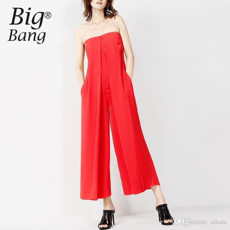 ce6fdc2ce89 2019 Wholesale Vogue Strapless Women Jumpsuits Off Shoulder Women Pants  2016 Autumn Ankle Length Pants Trousers Long Jumpsuit Red M16100907 From  Silane