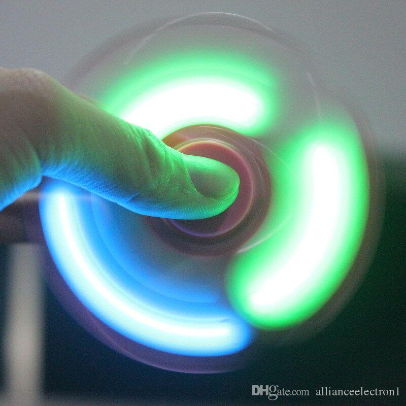 .LED Light fidget spinner Fingertips Spiral Fingers Spinner EDC Hand Spinner Acrylic Plastic Toys Gyro Toys with switch 3modes with box