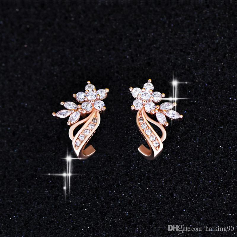 801efe516 2019 New Style Fashion Wedding Earrings Rose Gold Filled Flower Ribbon Stud  Earring Women Simulated Diamond Zirconia CZ Jewelry Gift E028 From  Haiking90, ...