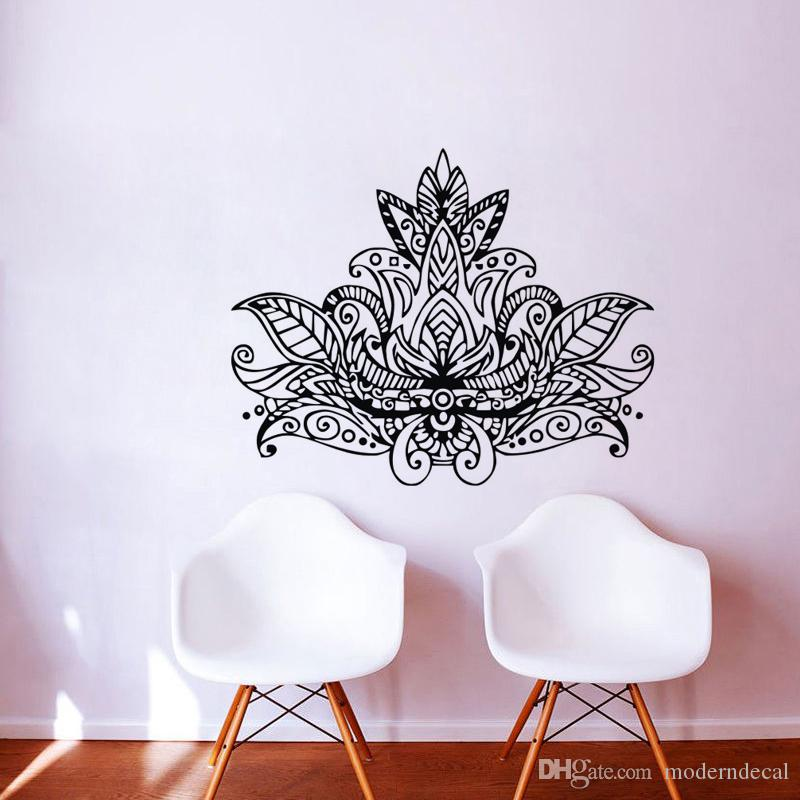 Lotus Mandala Wall Art Stickers Flowers Home Decoration Removable Vinyl  Wall Decals Adhesive Wallpaper Wall Vinyl Decals Wall Vinyl Sticker From  Moderndecal ...