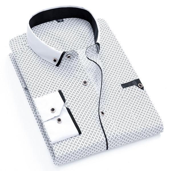 Printed Plaid Polka Dot Men Shirt Long-sleeved Casual Shirts For Men Slim Fit 21 Colors Male Dress Shirts Camisas Masculina Casual Shirts Shirts