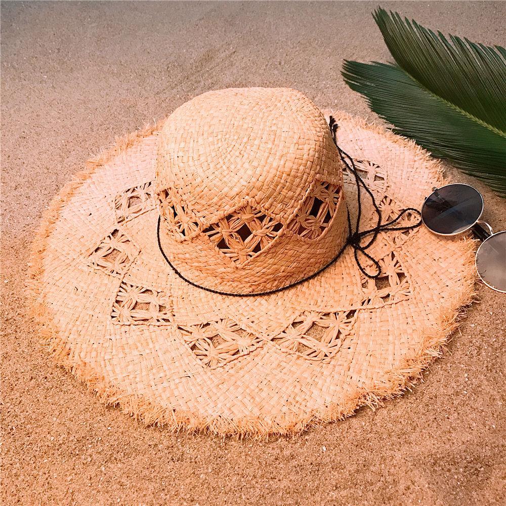 51db67ff7 Summer Large Brim Raffia Sun Hat For Women Floppy Beach Sunbonnet Fashion  Bucket Caps