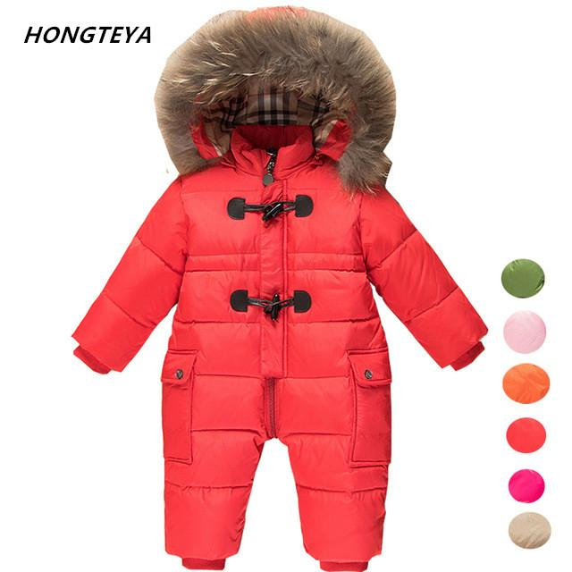 2d784338f5c5 Kids Snowsuits Warm Children Winter Jumpsuit Duck Down Baby Rompers ...