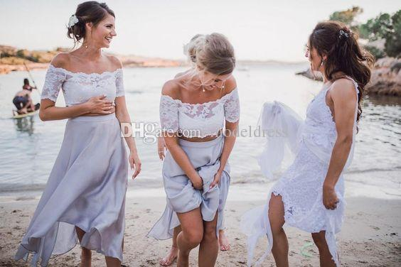 2018 Silver Tea Length Bridesmaids Dresses Off Shoulder lace Top A Line Short Two Pieces Beach Maid of Honor Prom Party Gowns Cheap