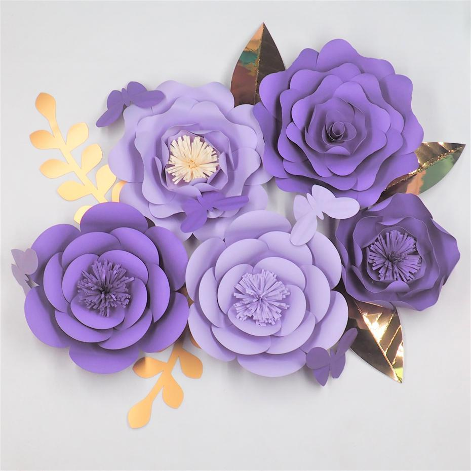 2019 Diy Giant Paper Flowers Backdrop Leaves Butterflies Baby