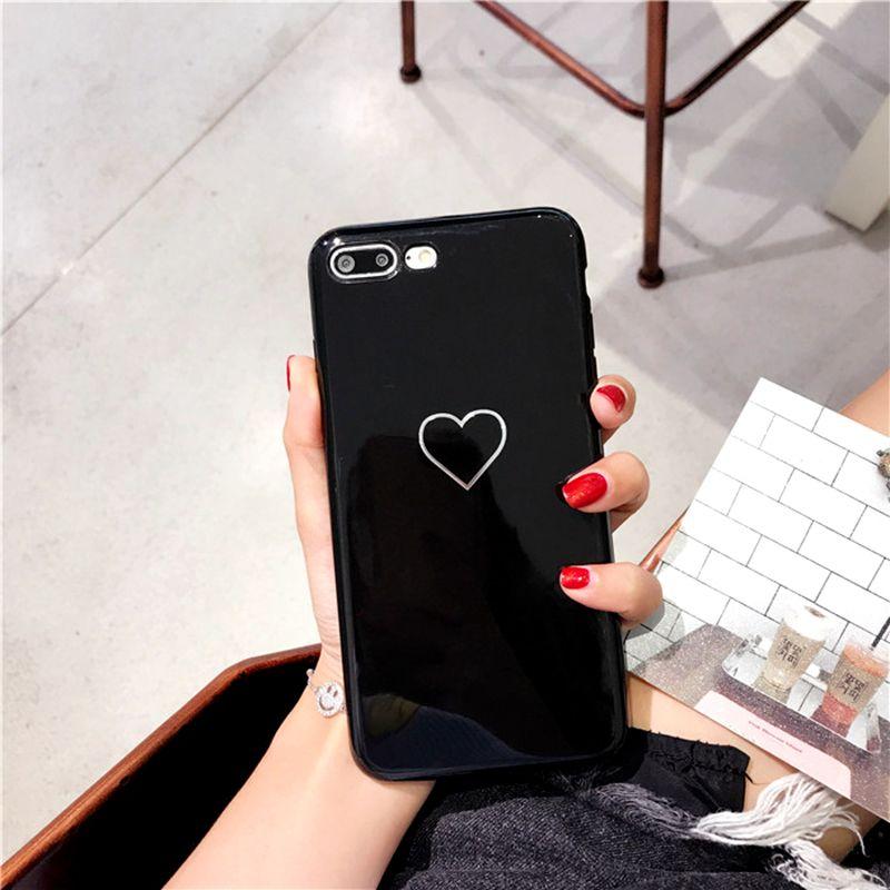 Moda Kalp Boyalı iPhone Vaka Için iphone 7 artı Vaka Çiftler Yumuşak TPU Parlak telefon Kılıfları iphone X 6 8 Artı vaka