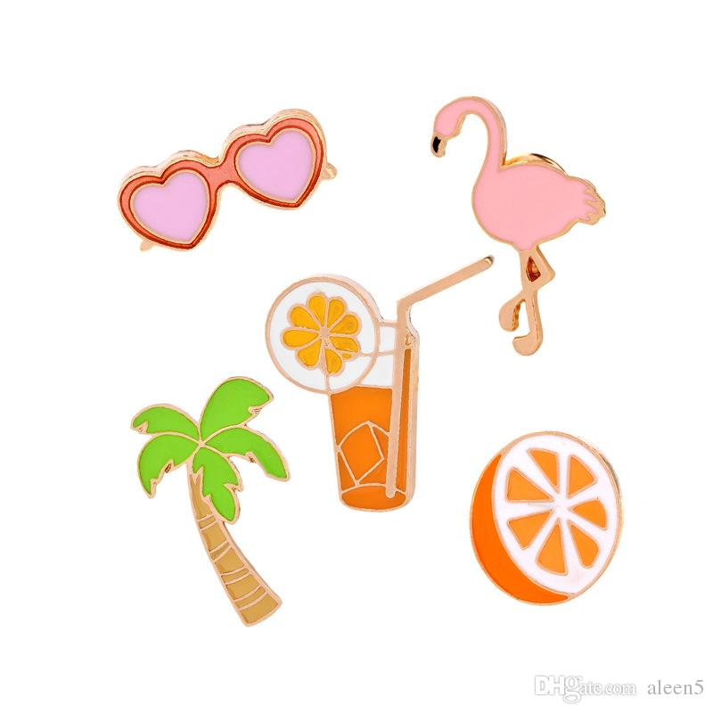 2018 Flamingo coco orange juice glasses Cartoon Brooch Pins Collar Bag Jacket Brooches Jewelry For Women Girl