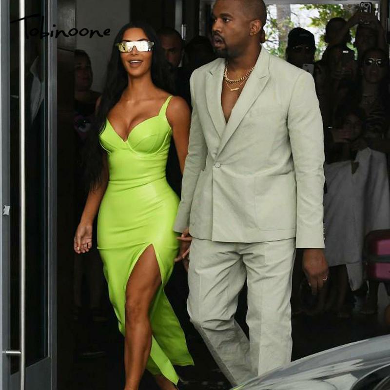 b5e0e9474a0 Tobinoone Kim Kardashian Summer Dress Women Sexy Backless Nightclub Party Maxi  Dress Split Bodycon Super Bright Neon Outfits Summer Dress Boutique Gold ...