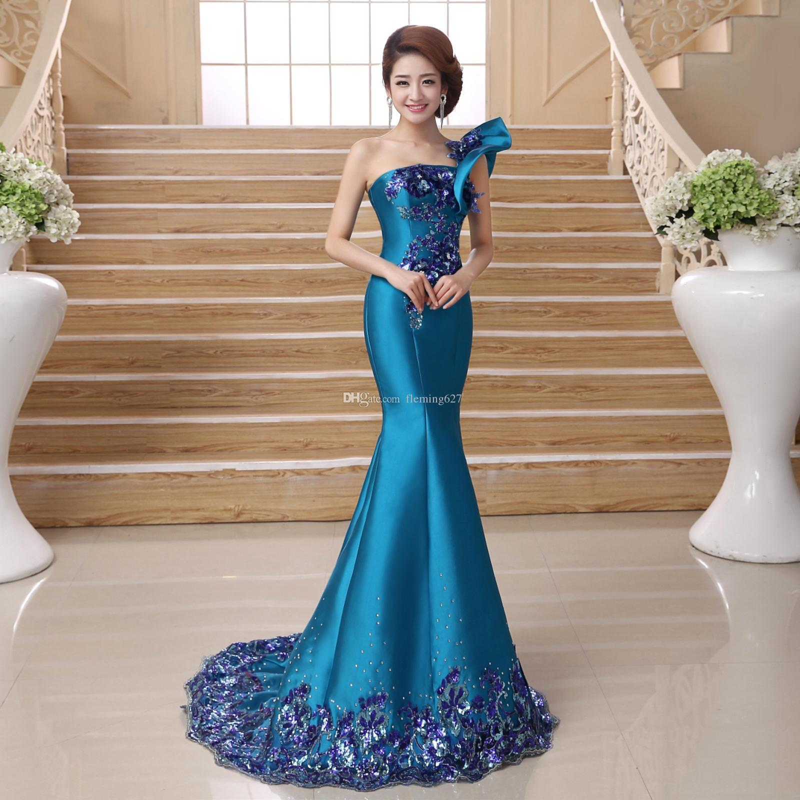 f1742ae8342 2019 New Luxurious Beautiful Summer Dress Long Chinese Style Gown Sexy One  Shoulder Female Vestido Blue Qipao Gown Mermaid Women Party Dress From  Fleming627 ...