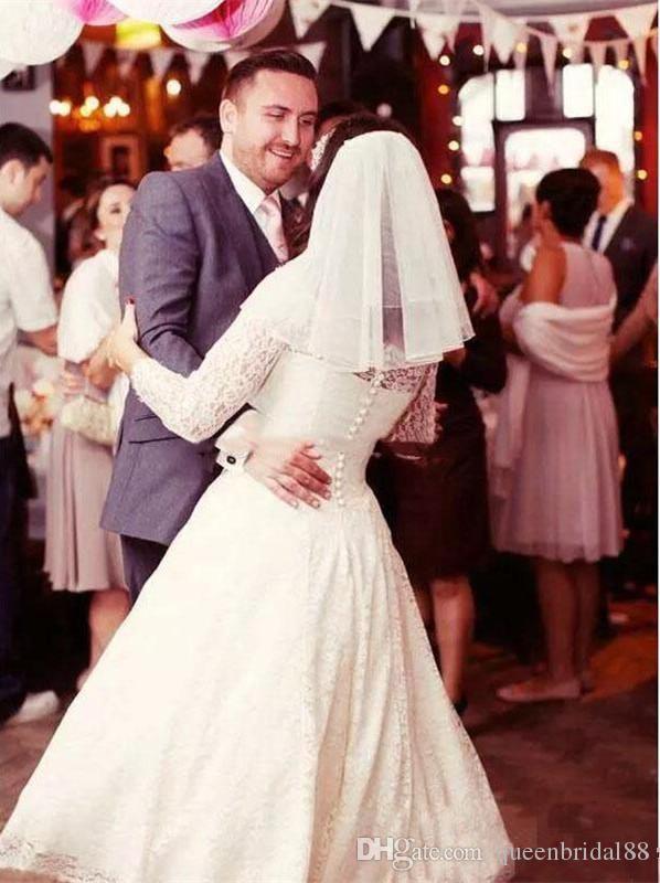Encaje de manga larga nupcial boda Desses 2019 venta caliente botones espalda té longitud una línea de vestidos de boda