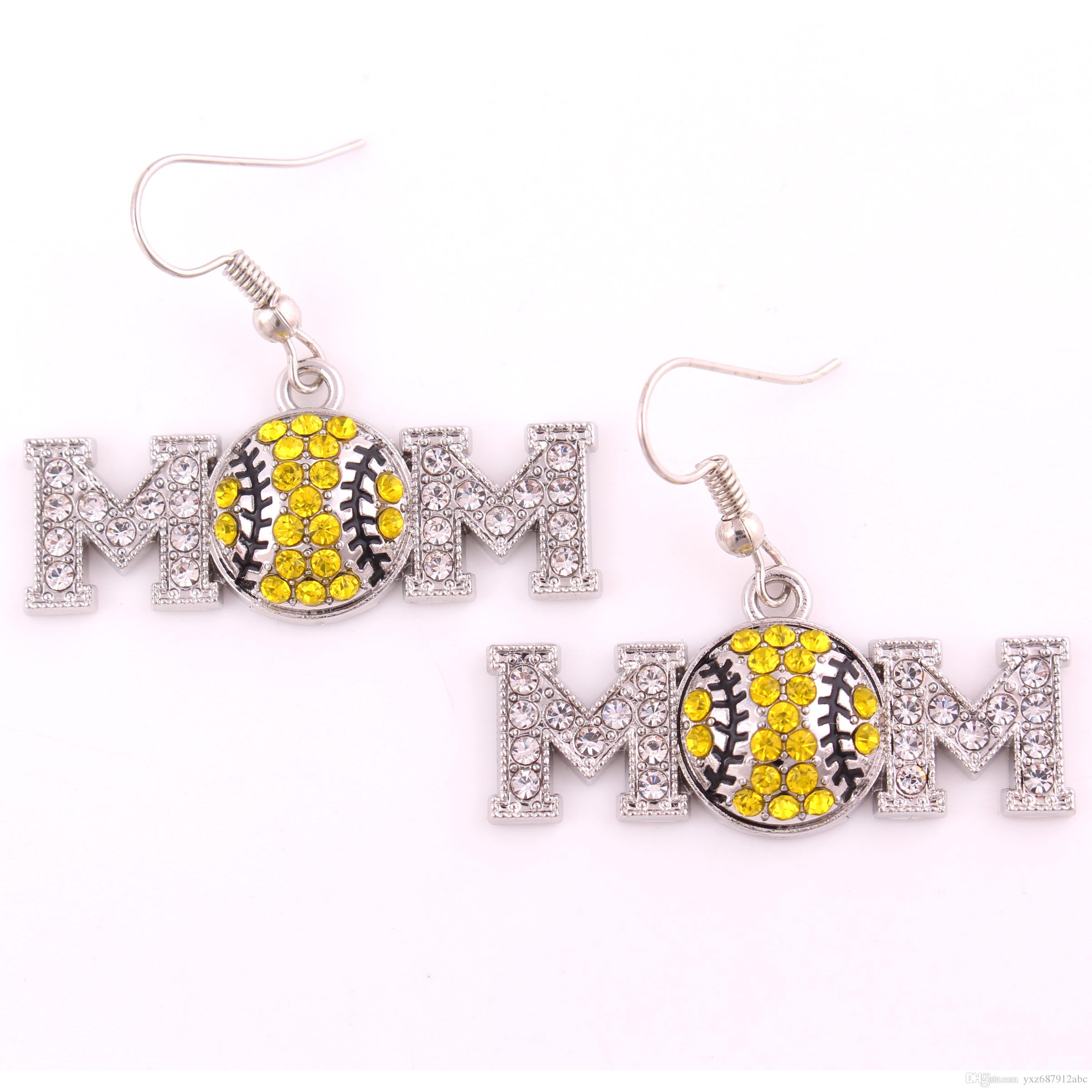 New Arrival Crystal Rhinestone Softball Mother Dangle Earring Sport