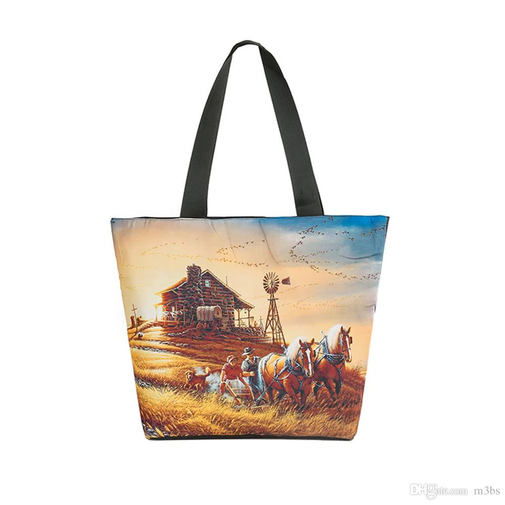 92d947cb5f New Vintage Women Or Young Girl Handbag Landscape Print Large ...