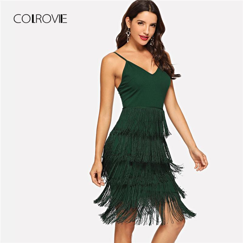 2dfc1929ddb7 Wholesale Green Fringe Embellished Sexy Dress Women 2018 Autumn Sleeveless  Party Dress Elegant Bodycon Evening Cami Mini Dresses Long Womens Dresses  Lace ...