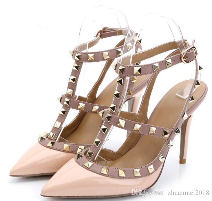8bc5d7626520c2 New Fashion Brand Designer Pumps Metal Rivets Leather Heel Shoes T ...